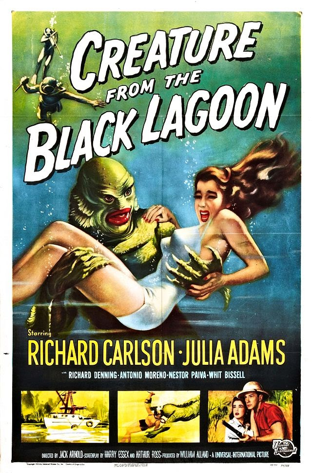 Creature from the Black Lagoon movie poster featuring green monster kidnapping victim