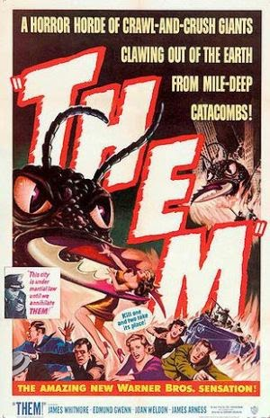 Them! movie poster featuring crowd fleeing from giant ant